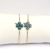 Wholesale Golden Clover - Newest Style Micro Pave CZ Four Leaf Clover high quality adjustable chain bracelet with Golden Chain