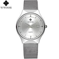 Wholesale Eyki Watch Band - watch eyki WWOOR New Top Luxury Watch Men Brand Men's Watches Ultra Thin Stainless Steel Mesh Band Quartz Wristwatch Fashion casual watches