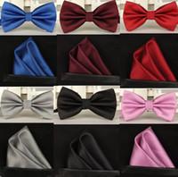 ingrosso cravatta gialla per uomini-Silk Solid Business bowtie da uomo vintage viola nero giallo argento da sposa con papillon tasca fazzoletto quadrato set lote