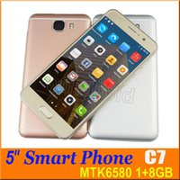 Wholesale Cheapest Quad Core Cell Phones - Cheapest 5.0 inch Quad Core Smartphone Android 6.0 MTK6580 1GB 8GB 960*540 3G WCDMA Dual SIM Cell Phone Unlcoked Gesture Mobile Phone C7 50