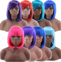 Wholesale Wholesale Sexy Wigs - New Women's Lady Sexy Full Bangs Wig Short cosplay Wig Straight BOB Hair Wigs Cosplay Party Synthetic Wigs