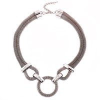 Wholesale Chunky Punk Chain Collar Necklace - 5Pcs Punk Style Silver Plated Bib Statement Necklace For Women 2017 Fashion Circle Collar Vintage Chunky Chain Choker