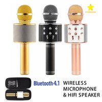 Wholesale Wireless Microphone Speaker For Pc - WS-858 Wireless Speaker Microphone Portable Karaoke Hifi Bluetooth Player for iphone 6 6s 7 ipad Samsung Tablets PC with Package
