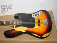 Wholesale Vintage String Instruments - factory custom relic 4 strings old used vintage faded musical instrument electric bass guitar