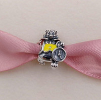 ingrosso coniglio giallo-Autentico argento sterling 925 con perline bianco coniglio rosso smalto giallo adatto a bracciali gioielli stile europeo collana 791898ENMX