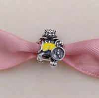 Wholesale enamel animal bracelets for sale - Authentic Sterling Silver Bead White Rabbit Red Yellow Enamel Fits European Style Jewelry Bracelets Necklace ENMX