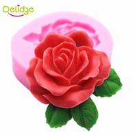 Wholesale Sweet Polymer - Delidge 10 pcs Big Rose Flower Cake Mold Silicone Sweet Rose Chocolate Mold Soap Mould Handmade Cake Fondant Fimo Polymer Clay