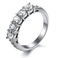 Wholesale Eternity Ring Stainless - Newly nice design women jewelry 316l surgical stainless steel eternity ring with cubic zirconia stone setting
