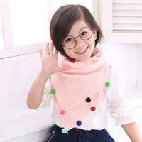 Wholesale Lovely Baby Shawls - Wholesale- 2016 autumn winter warm baby cute scarf Tassels Circle Flow lace flower decorate kids lovely scarves collar girls collar shawls