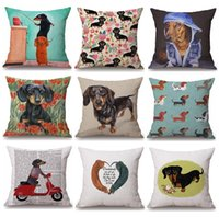 Wholesale dachshund pillow - 38 Styles Dachshunds Sausage Dog Cushion Covers Hand Painting Dogs Art Cushion Cover Merry Christmas Decorative Linen Pillow Case