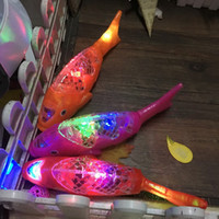 Wholesale Wholesale Electric Lanterns - New projection electric fish mid-autumn lantern music swing fish light toys free fish floats hot sale