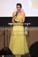 Wholesale Emma Watson Prom Dress - Beauty & Beast Emma Watson Yellow Organza Prom Dresses 2017 Spaghetti Straps Criss Cross Backless Celebrity Party Dress Long Evening Gowns