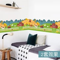 Wholesale Farm Stickers - happy farm animal house fence wall sticker for kids rooms wallpaper decals children gift poster home decor decal mural