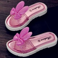 Wholesale Summer Girls Slippers - Children's Summer Style Slippers Baby Girl's PU Leather Shoes Kid's Flat with girls Candy colors shoes Child flattie DHL free shipping CK245