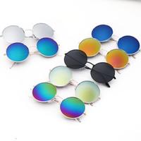 çocuklar için bardak aksesuarları toptan satış-Çocuklar için güneş gözlüğü Vintage Yuvarlak Güneş Gözlükleri Erkek Kız Tasarımcı Moda Çocuk Yaz Plaj Güneş Kremi Aksesuarları
