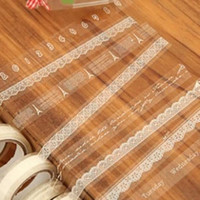 Wholesale Transparent Cute Tape - Wholesale- 2016 Cute little fresh transparent lace decorative DIY tape masking tape small roll 10m lace tape Z231-LACE