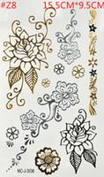 Wholesale Temporary Sexy Glitter Tattoos - Wholesale-Sexy Classic Flower Flash Tattoo Jewelry Temporary Tattoos Gold Bracelet Tattoo Sleeve Tatuagem Gold Tatoo Tatuajes Glitter