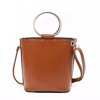 Wholesale Drawstring Handbag Zipper - 2017 New Style bucket bag Metal ring drawstring woman cross body bag metal ring tote woman handbag free shipping