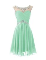 Wholesale Mint Prom Dress Knee Length - 2017 Knee Length Cute Mint Sheer Crew Neck Prom Dresses Pleats Backless Real Picture Dresses In Stock Bridesmaid Dresse Cheap Short Party Dr