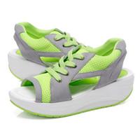 Wholesale Chunky Wedge Shoes - Women's Sandals Casual Summer Lace Up Mesh Breathable Shoes Women Ladies Wedges Sandals Lace Platform Sandalias 022