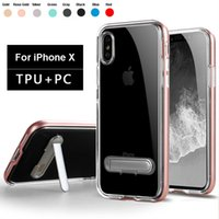 Wholesale Transparent Stand Holder Phone - Kickstand Phone Holder Case for iPhone X Back Cover Stand Transparent TPU+PC Shockproof Shell Bumper Frame Skin