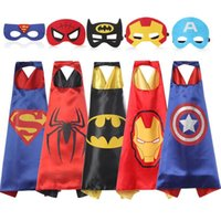 Wholesale Cosplay Super Hot - Hot Double side Halloween L70*70cm kids Superhero Capes and masks - Spiderman Flash Supergirl Batgirl Robin for kids capes with mask Cosplay