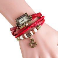 Wholesale Trojan Watches - Xiniu 2017 New Fashion Colorful Quartz Weave Around Leather Trojans Bracelet Lady Woman Square Wrist Watch Montre Femme
