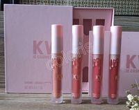 Wholesale Signature Lipstick - KKW By Kylie Cosmetios Creme Liquid Lipstick Set 4 Colors Matte Signature Lipgloss Set ( 12 Set Lot)