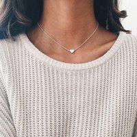 ingrosso collana di chokers del bastone-Ciondolo gioielli donna Collana girocollo in argento con catena in oro con cuore GF