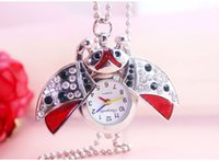 owl keychain watch - Fashion Pendant Necklace keychain Owl Design Pocket Watch Gift For Birthday Christmas Children Girls With diamonds