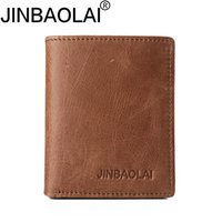JINBAOLAI HOT100% Real Leather Mini Carteiras Brown Cow Leather Thin Leather Wallet Card Holder Short Design Moda Handmade Bolsa pequena wale