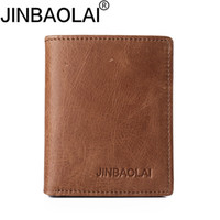 JINBAOLAI HOT100% Real Leather Mini Portefeuilles Brown Cow Leather Thin Leather Wallet Card Holder Short Design Fashion Handmade Petit sac à main wale