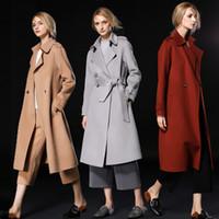 Wholesale Ladies Wool Long Cloaks - fashion silver grey  caramel camel women wool coats 2018 high quality womens winter coats ladies outerwear woolen coats free shipping