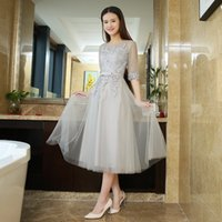 Wholesale Tull Tea Length Dress - Tea-Length Tull Lace Appliques Prom Dress 2017 Customized Fashion O-Neck Party Gown Dresses With Half Sleeves