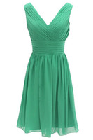 Wholesale Coral Mini Bandage Dress - Short Cocktail Dresses Vestido De Festa Curto 2017 Dress for Graduation Green Chiffon V-Neck Cheap Party Gowns