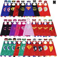 Wholesale robin masks - Halloween Double side L70*70cm kids Superhero Capes and masks - Spiderman Flash Supergirl Batgirl Robin for kids capes with mask 15design