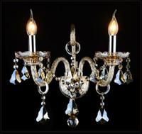kristal kafa lambası toptan satış-Avrupa Stil Kristal duvar lambası lüks Yatak Odası Yatak Duvarı Koridor Ktv Mum K9 kristal duvar lambası 1/2/3 kafa ışıkları