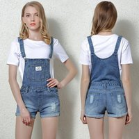 Wholesale Women S Denim Overalls - Wholesale- 2017 Women overalls Combinaison short femme Playsuits Fashion Short jumpsuit Denim shorts jumpsuit Denim overalls women P3599