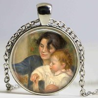 Wholesale Famous Paintings Renoir - RENOIR necklace Jewerly Mother Glass necklace - Child with Toys - Gift Renoir Famous Painting Art pendant Fashion