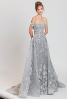 Wholesale Floral Water Picks - 2017 Tony Ward Off the Shoulder Silver Evening Dresses With Overskirt Organza with 3d Floral Appliques Beaded Sweep Train Formal Prom Gowns