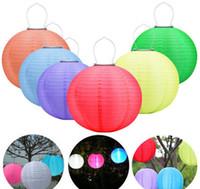 led luces de jardin china al por mayor-Linternas solares 25 cm impermeable al aire libre Jardín Luces de hadas solares LED Festival Farolillos Colgando Lámpara de Celebración China 7 colores