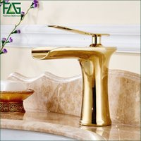 Wholesale Gold Waterfall Mixer Taps - Basin Faucet Deck Mounted Finish Gold Color Mixer Waterfall Tap Cold Hot Single Lever Bathroom Sink Faucet Fountain Tap 130-11