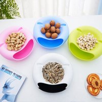 Wholesale Bowls Plate Portable - Food Fruit Storage Tray Portable Double Layers Peel Seeds Snacks Plate Bowl Phone Holder Room Storage Box 4 Colors OOA1996