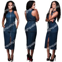 Wholesale Jeans Party Dress - Women Summer Denim Dress Sexy front Zippers Sleeveless jeans Dress Women Bodycon Bandage Party Dresses