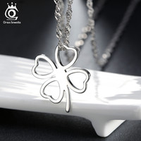 Wholesale Clover Platinum Necklace - Simple Love Clover Pendant Necklace,925 Sterling Silver on 3 Layer Platinum Plated,100% Allergy Free,Wonderful Necklace ON67