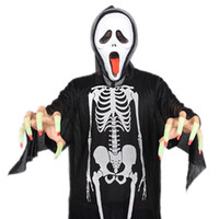 Wholesale Horror Haunted House - 80Cm Halloween Ribs Ghost Costumes Adults Bones Black Clothing Horror Scary Dress Up Decoration Haunted House Halloween Party