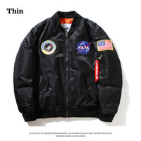 Wholesale flight jacket pockets - Thin NASA MA1 Bomber Jacket Flight Windbreaker USA Air Force Embroidery Pilot Jacket Kanye West Hip Hop Jacket Bomber Coat XS-2XL HFJK002