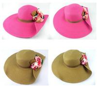 sombrero de ala ancha floral para mujer al por mayor-Rafia floral Sombreros de paja para mujeres Flor femenina Guirnaldas de verano Sombrero ancho de playa Sombreros de ala grande Sombreros para el sol Nueva marca