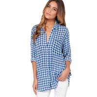 große frauenblusen großhandel-Frauen Einfache Stil Blau Weiß Karierte Bluse Sommer Mode Nähen Langarm Gitter Blusen Lange Große Größe Frauen Blusen