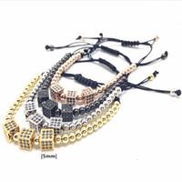 Wholesale Micro Bead 5mm - High Quality AAA Grade Men Jewelry 5mm Gold Round Beads Square Micro Zircon Braided Macrame Bangle Bracelet